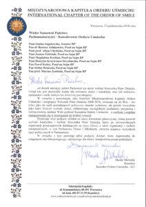 list do Parlamentarzystów KOU